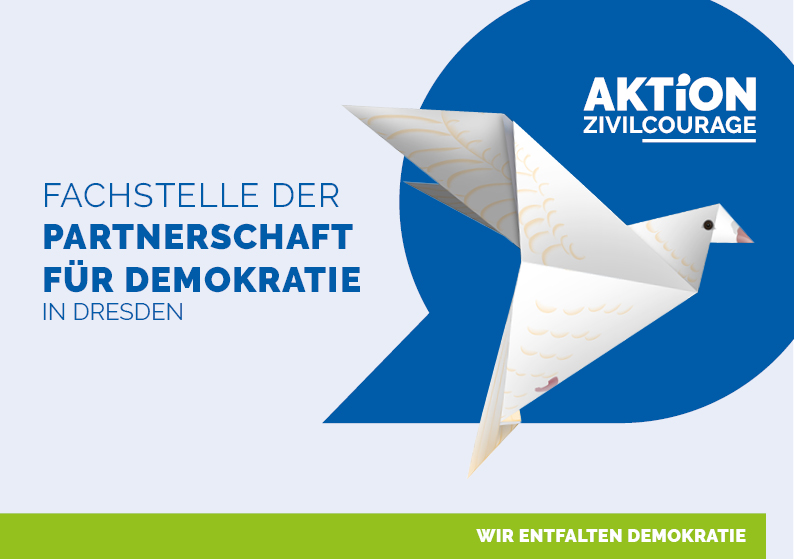 digitaler Flyer Fachstelle der Partnerschaft für Demokratie Anleitung Taube Origami